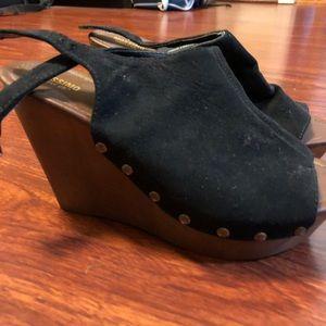 Black clog wedges